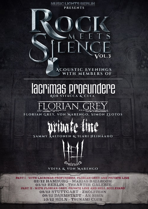 Rock  Meets Silence Poster 500 Unplugged with Members of: Lacrimas Profundere (DE), Florian Grey (DE) und Private Line (FI)