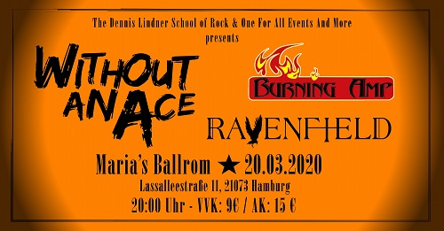 Without An Ace 2020 Banner 500 School of Rock presents: Without An Ace / Ravenfield / Burning Amp